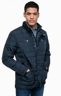 Синяя куртка с карманами и ветрозащитной планкой Lerros