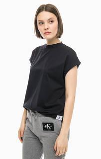 Черная хлопковая футболка Calvin Klein Jeans