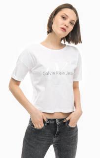 Укороченная хлопковая футболка с принтом Calvin Klein Jeans