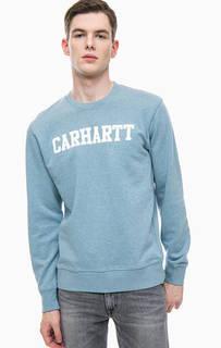 Синий хлопковый свитшот с логотипом бренда Carhartt WIP