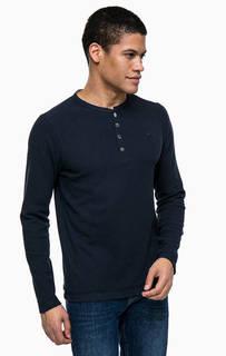 Синяя футболка с воротом на пуговицах Lerros