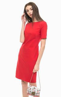 Красное платье-футляр с короткими рукавами More & More