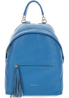 Вместительный кожаный рюкзак синего цвета Coccinelle