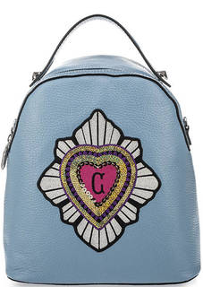 Сумка-рюкзак из мягкой кожи с яркой вышивкой Curanni