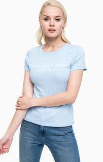 Синяя футболка с принтом Calvin Klein Jeans