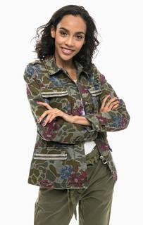 Легкая куртка цвета хаки с цветочным принтом Tom Tailor