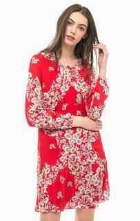 Короткое красное платье с цветочным принтом More & More