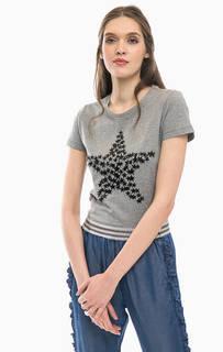 Хлопковая футболка со стразами Liu Jo