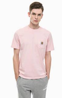 Розовая хлопковая футболка с карманом Carhartt WIP
