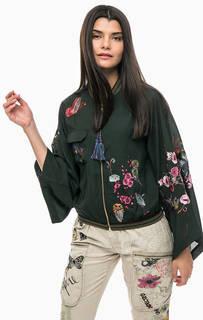 Легкая куртка бомбер с цветочной вышивкой Desigual