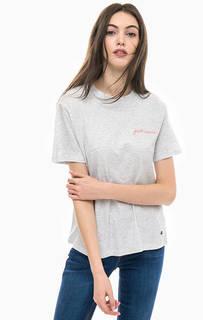 Серая хлопковая футболка с вышивкой Mustang