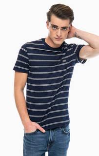 Синяя футболка из хлопка и льна в полоску Lacoste
