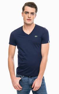 Однотонная хлопковая футболка с треугольным вырезом Lacoste