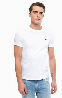 Однотонная хлопковая футболка с круглым вырезом Lacoste