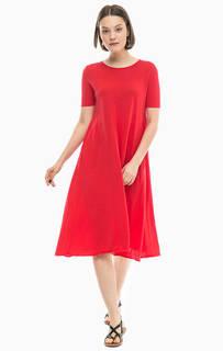 Красное платье из хлопка Stefanel