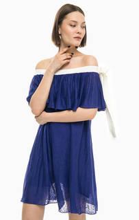 Льняное платье с открытыми плечами Stefanel