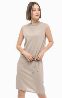 Серое платье из хлопка без рукавов Stefanel