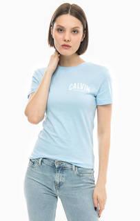 Синяя хлопковая футболка Calvin Klein Jeans
