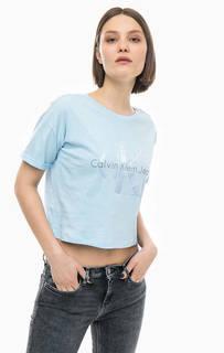 Хлопковая футболка оверсайз с принтом Calvin Klein Jeans