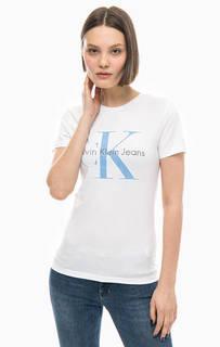 Хлопковая футболка с вышивкой Calvin Klein Jeans
