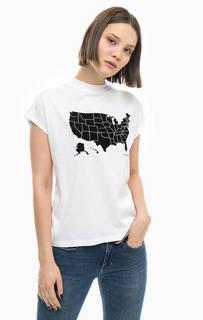 Белая хлопковая футболка с нашивками Calvin Klein Jeans
