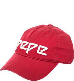 Красная хлопковая бейсболка с нашивками Pepe Jeans