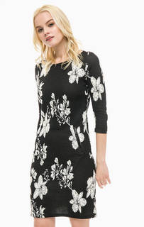Черное платье средней длины с цветочным принтом Lerros
