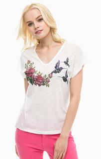 Белая футболка с декором из пайеток Lerros