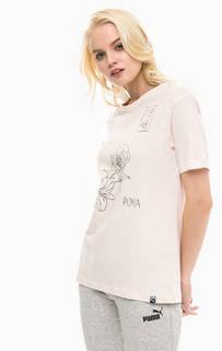 Хлопковая футболка с цветочным принтом Puma