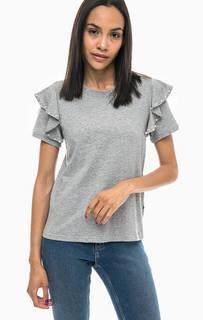 Хлопковая футболка с отделкой бусинами Noisy May