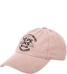 Розовая хлопковая бейсболка с вышивкой Pepe Jeans