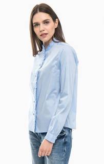 Синяя хлопковая рубашка с длинными рукавами Scotch&Soda