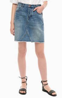 Короткая джинсовая юбка с застежкой на болты Scotch&Soda