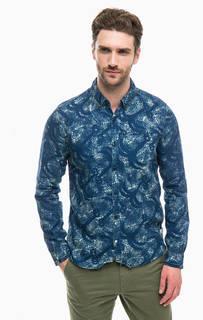 Синяя рубашка из хлопка и льна Scotch&Soda