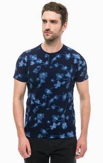 Синяя хлопковая футболка с цветочным принтом Scotch&Soda