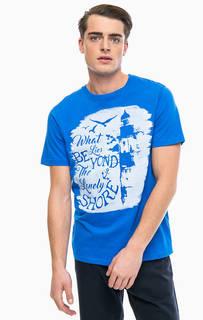 Синяя хлопковая футболка с принтом Blue Seven
