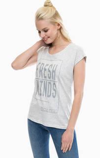 Серая хлопковая футболка с короткими рукавами Blue Seven