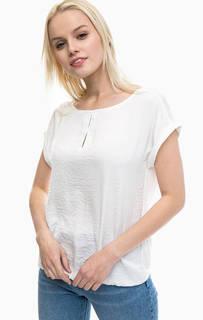 Белая футболка с отворотами на рукавах S.Oliver