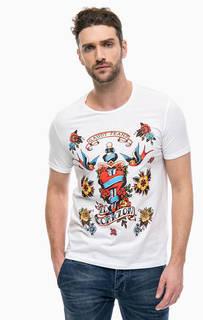 Белая футболка с цветочным принтом Gaudi