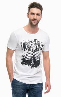 Белая хлопковая футболка с принтом Gaudi