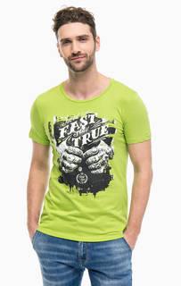 Зеленая футболка с контрастным принтом Gaudi
