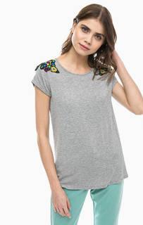 Серая футболка из вискозы с пайетками Silvian Heach