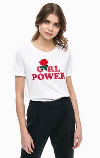 Хлопковая футболка с вышивкой и принтом Silvian Heach