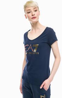 Синяя футболка с принтом и вышивкой EA7
