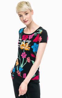 Хлопковая футболка с цветочным принтом EA7