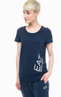 Синяя футболка с блестящим принтом EA7