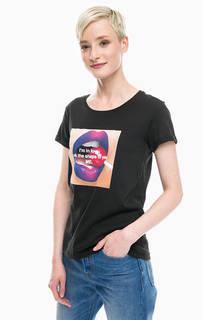 Хлопковая футболка с фотопринтом и надписью Happiness