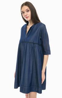 Джинсовое платье оверсайз с глубоким декольте Stefanel