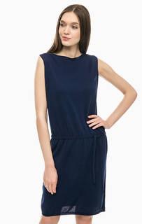 Синее трикотажное платье без рукавов Stefanel