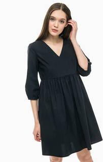 Черное хлопковое платье с расклешенной юбкой Stefanel